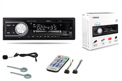 Radio Vordon HT-185BT MIKROFON USB Bluetooth SD 1 DIN